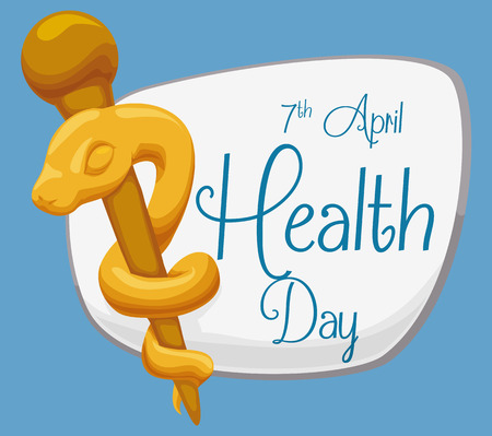 Commemorating sign for World Health Day with a golden rod of Asclepius in cartoon style.