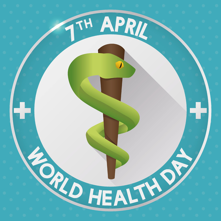 Rod of Asclepius with long shadow effect and text around about Health World Day.
