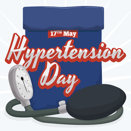 Sphygmomanometer with blue band and commemorative text for World Hypertension Day. 矢量图像