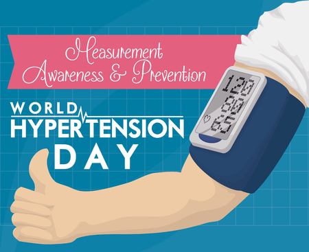 Arm with a digital sphygmomanometer and thumb up for a excellent measures, commemorating awareness in World Hypertension Day.
