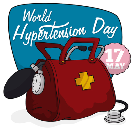 Red medical bag with stethoscope, sphygmomanometer and blue sign for World Hypertension Day.