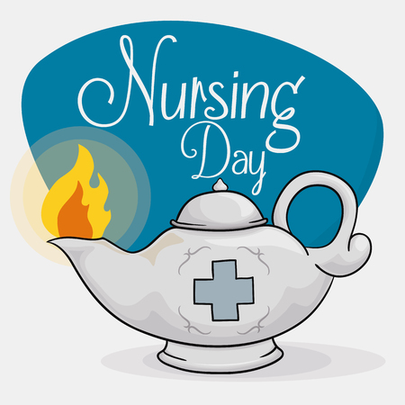 commemoration day: Lit oil lamp in silver metal and cross with a blue sign to commemorate Nursing Day.