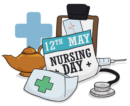 Commemorative Nursing Day paper with iconic elements: oil lamp, nurse cap, stethoscope, clipboard and blue cross. Illustration