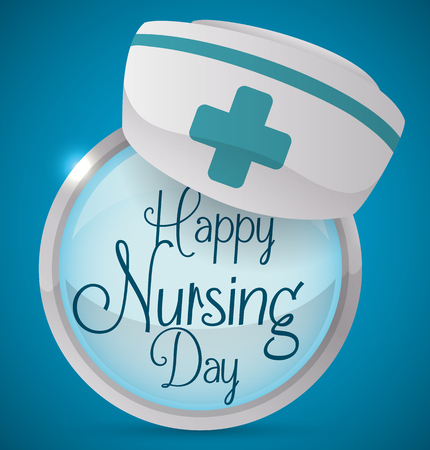 enfermera con cofia: Round button with greeting message for Nurses Day celebration and a nurse cap in the top.