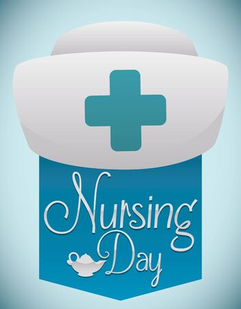 enfermera con cofia: Nurse poster with nurse cap and blue ribbon with greeting message and oil lamp for Nursing Day celebration.