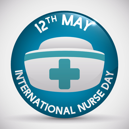 enfermera con cofia: Glossy button with reminder of International Nurses Day and nurse cap inside. Vectores