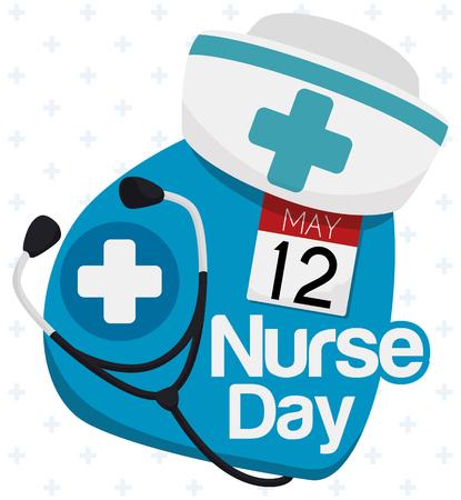 enfermera con cofia: Nurse cap, stethoscope and calendar paper in a commemorative Nursing Day sign. Vectores