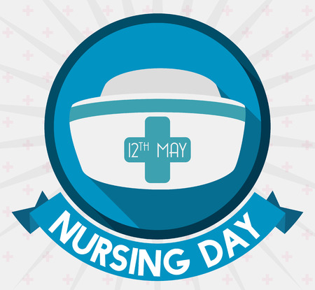 long recovery: Label with ribbon reminder of Nursing Day and nurse cap in flat style and long shadow.