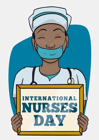 Pretty black-skinned nurse with face mask holding a reminder of Nurses Day in her hands and stethoscope around her neck.