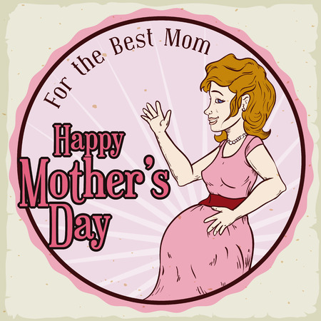 Retro rounded design with a happy pregnant woman to celebrate Mothers Day.