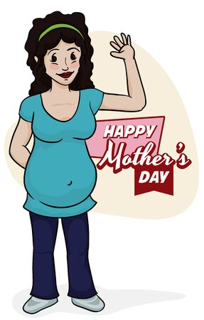 Smiling pregnant brunette woman waving you in Mothers Day.