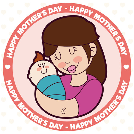 Smiling mom hugging her little baby  in rounded ribbon with Mothers Day greeting message.
