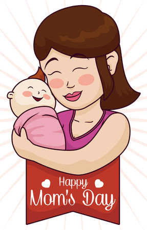 commemorative: Commemorative scene for Mothers Day with a mom hugging her happy baby.