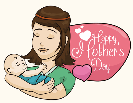 fondle: Tender mommy lull to sleep her little baby with a Mothers Day sign and floating hearts.