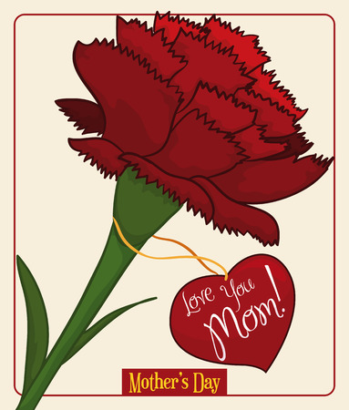 tender sentiment: Beauty red carnation with heart-shape label with greeting message to commemorate Mothers Day.