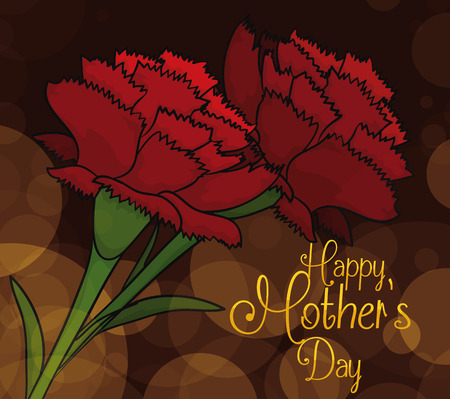 tender sentiment: Red carnations with a dark background with bokeh effect commemorating a elegant scene for Mothers Day.