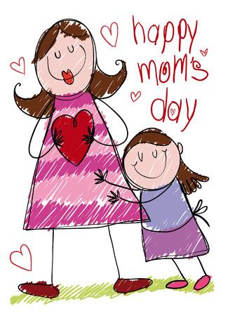 Leuke scène van een moeder en zijn dochter gemaakt door een klein meisje voor het vieren van Moederdag.