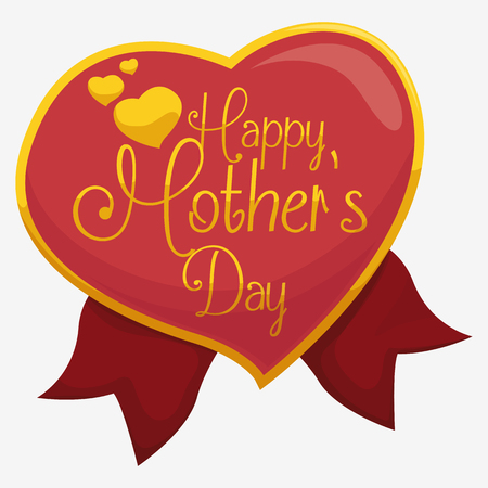 commemoration day: Golden heart-shape badge with greeting message inside for Mothers Day with red ribbons. Illustration