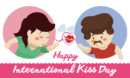Pretty woman sending a flying at her boy at distance celebrating Kissing Day. Illustration