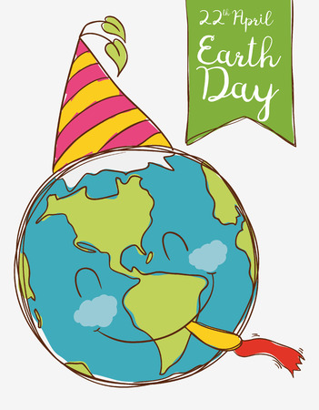 cornet: Cute smiling planet ready to party in Earth Day celebration.