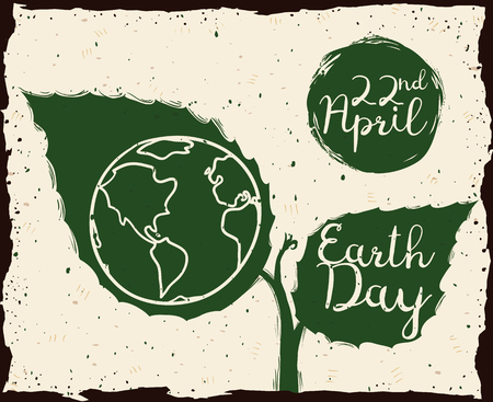 green paper: Earth Day message in a plant begin to grow in sketch and grunge style.