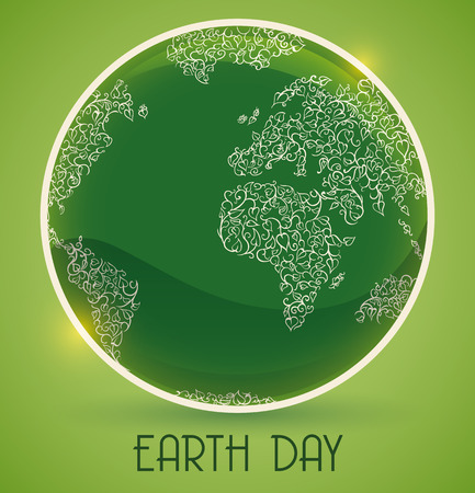 glows: Green view of the planet with vines and leaves in button for Earth Day commemoration. Illustration