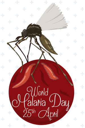 Commemoration of World Malaria Day with a female mosquito flying with plasmodium parasite.
