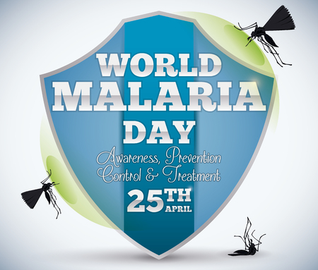 Commemorative design for World Malaria Day with a blue shield and mosquitoes trying attack it unsuccessfully.