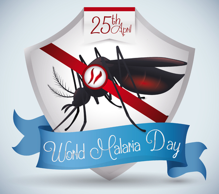 Silver shield with a blue ribbon, female mosquito inside and plasmodiums parasites for World Malaria Day design.