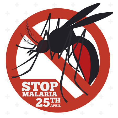 Mosquito inside in a forbidden sign for promotion and prevention of malaria in World Malaria Day.
