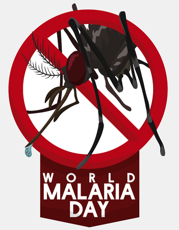 Mosquito sign for World Malaria Day in prevention and promotion against this disease.