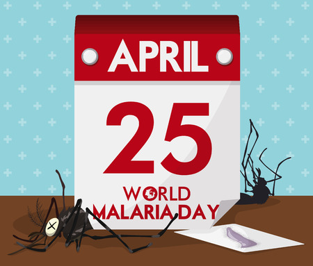 looseleaf: Loose-leaf calendar with dead mosquitoes around it representing the prevention of malaria disease.