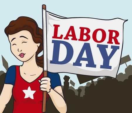 workers rights: Young lady celebrating with a crowd the Labor Day with American colors. Illustration
