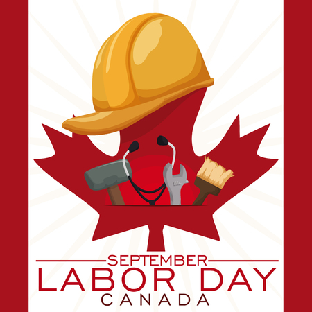 Professionelle Ausrüstung und nicht professionelle Ausrüstung zu feiern vereinigten kanadischen Arbeitstag als gleichberechtigte Arbeiter. Vektorgrafik