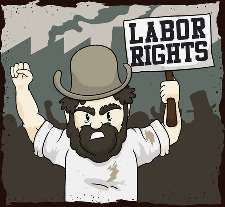 demanding: Retro poster with a scene of workers demanding their labor rights in oldest days of Industrial Revolution.
