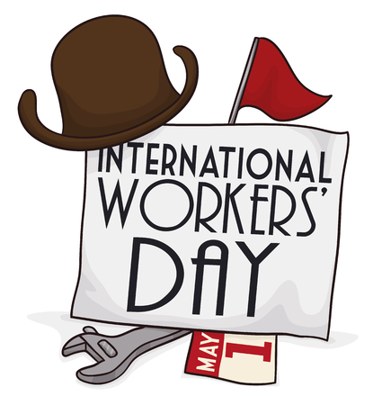 looseleaf: Commemorating elements of retro International Workers Day: hat, red pennant, banner, loose-leaf calendar and wrench. Illustration