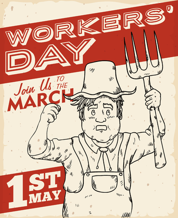 raking: Retro poster with displeased farmer calling to march in Workers Day. Illustration