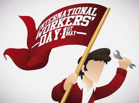 Workingman promoting Workers Day celebration with a red flag and a wrench in his hand.
