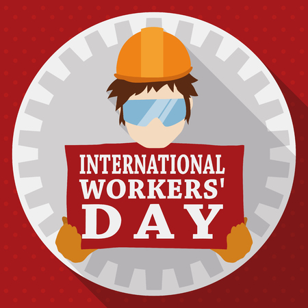 Workingman holding a sign for Workers Day celebration inside in a rounded button with long shadow.