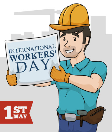 Young builder with his safety gear remembering to you that is International Workers Day.