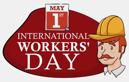 Worker portrait with date and reminder of Workers Day sign in cartoon style.