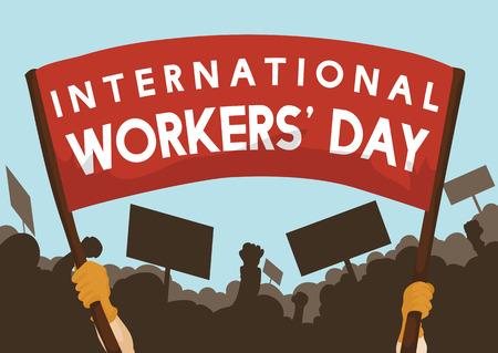 Operai chiedono diritti del lavoro con striscioni e marciano sulla celebrazione della Giornata dei Lavoratori.