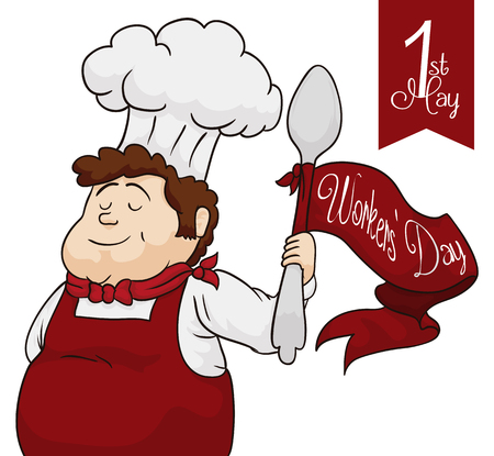 Cute chef celebrating Workers Day with his big spoon in high with red ribbon around it. Illustration