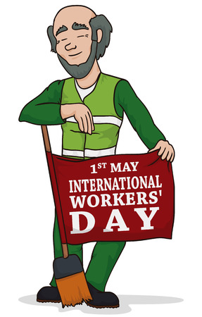career fair: Janitor posing with his broom on Workers Day showing his commemorative flag for this date and remembering you labor rights. Illustration