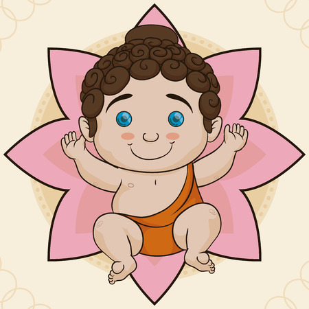 nirvana: Pretty baby Buddha laying down in a lotus flower like cradle. Illustration