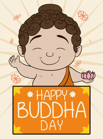 nirvana: Pretty baby Buddha with a lotus in his hand and greeting message commemorating Vesak celebration.
