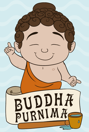 wit: Buddha splash tradition wit a cute baby, spoon with water and commemorative scroll of Buddha Purnima festival. Illustration