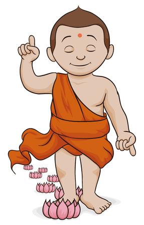 Infant Buddha walking and leaving seven lotus at his steps.