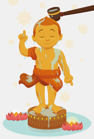 Bathing of child Buddha sculpture as part of traditions in Vesak festival.
