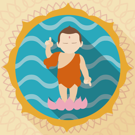 Infant Buddha with right forefinger pointed up to the sky and his left down to the earth, over a lotus in blue background with waves pattern like water and floral frame for Buddha Purnima tradition. Illustration